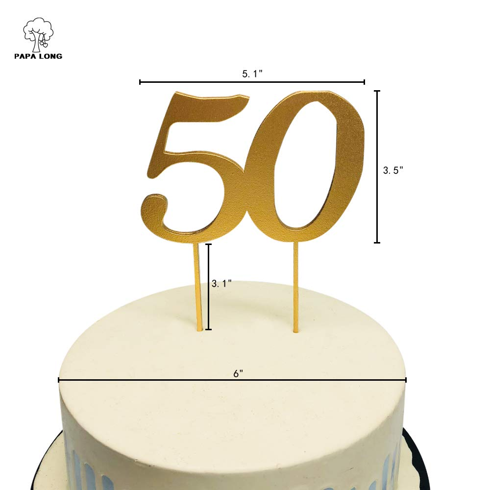 PAPA LONG Design Happy 50th Wood Cake Topper For Birthday Anniversary Retired Party