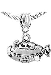 Submarine Ship Charm Bead for European Snake Chain Charm Bracelet