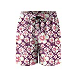 Hibiscus Tea Flowers Mens Quick Dry Lightweight Beach Shorts with Drawstring