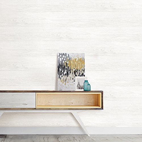 NuWallpaper NU3129 Reclaimed Shiplap Peel & Stick Wallpaper, White/Off-White