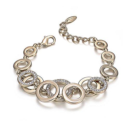 Glamorousky Fashion Circle Bracelet with White Austrian Element Crystals (23777)