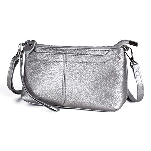 Befen Mini Cell Phone Crossbody Bag for Women, Leather Wristlet Clutch Crossbody Purse (Silver)