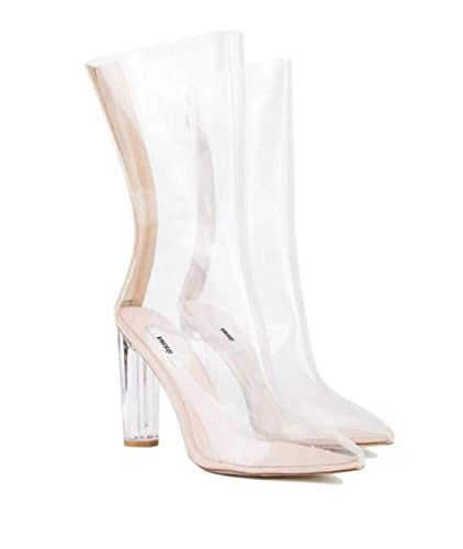 95ed5e70d92 Image Unavailable. Image not available for. Color  AVENBER Women Pointed  Toe High Heel Mid Calf Clear PVC Transparent Luxury Brand Shoes Designer  Chunky