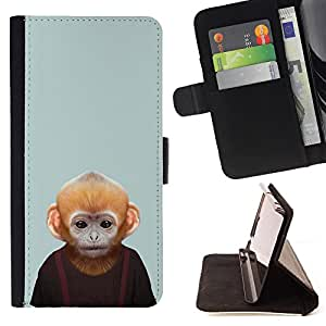 - Monkey Cartoon Face - - Flip Wallet Leather Magnetic Closure Cover Skin Case FOR Apple iPhone 5 5S Justin City