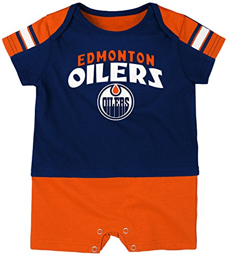 NHL Edmonton Oilers Boys Newborn & Infant Little Brawler Jersey Romper, True Navy, 6-9 Months