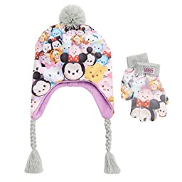 Disney\'s Tsum Tsum Girls Size 4-16 Earflap Pom-Pom Hat & Gloves Set