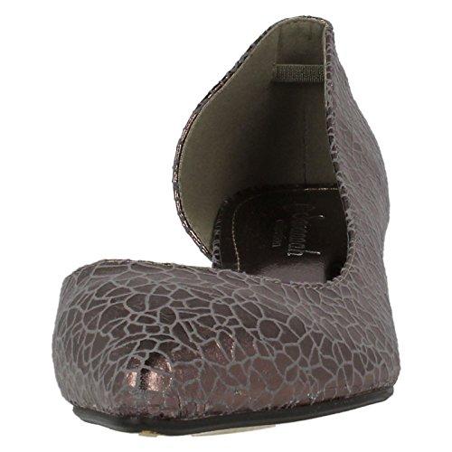 Ladies Savannah Cut Out Side Kitten Heel Shoes Pewter yzKA0eZv