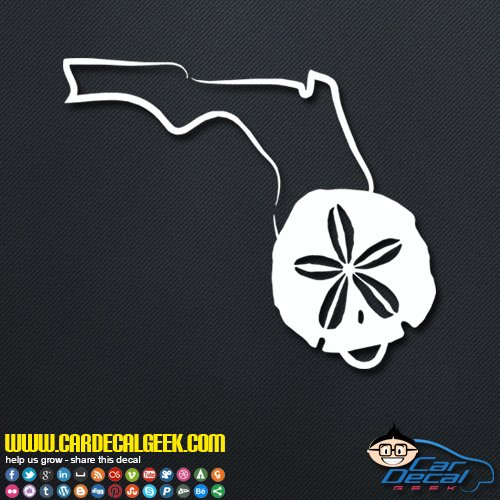 Florida Sand Dollar Decal Vinyl Decal Sticker for Car Truck Window Laptop Macbook Wall Cooler Tumbler, Die-cut/No Background, Multiple Sizes and Colors , 14-Inch , - Sands Florida Silver