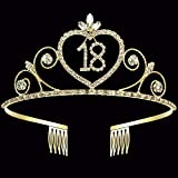 Coucoland 18th Crystal Birthday Crown Tiara 18th Rhinestone Princess Birthday Crown Headband Gold 18th Happy Birthday Party Crown Tiara