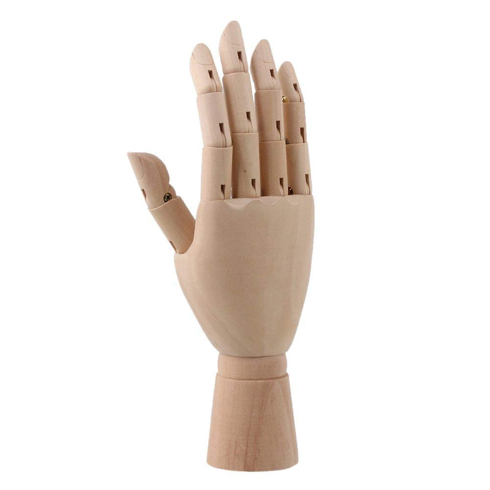 Wooden Hand Movable Wood Joint Hand Model Wooden Joint Person Male and Female Children Wooden Hand Crafts by Candora (Male Hand)