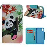 Leather Wallet Case for iPhone XS Max,Shinyzone Colorful Cute Cartoon Animal Panda Painted Pattern Flip Stand Case,[Metal Magnetic Closure][Touch Pen] Full Body Protective Cover