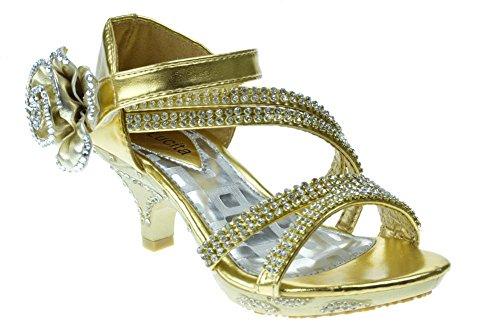 Jan 100KM Little Girls Rhinestone Heel Platform Dress Sandals Gold 3