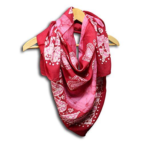 Women's Fashion Lightweight Floral Paisley Scarf Batik Print Sheer Soft 100% Cotton Neck Head Scarf Stole (Red, 42 x 42 inches)