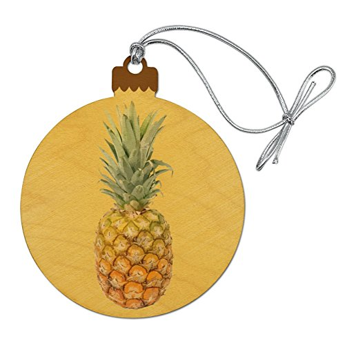 - Graphics and More Pineapple Fruit on Yellow Tropical Background Wood Christmas Tree Holiday Ornament