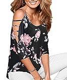 DREAGAL Women's Sexy Floral Print Cut Out Shoulder Tops Blouse Black Large