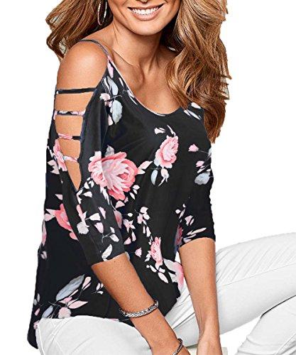 DREAGAL Women's Sexy Floral Print Cut Out Shoulder Tops Blouse Black Medium