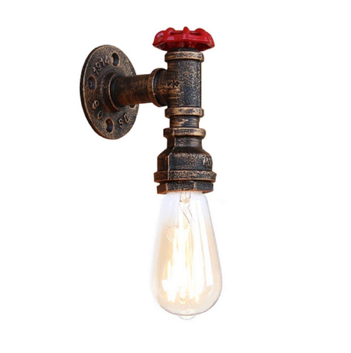 Eeayyygch Steam Punk Loft Industrie Eisen Rost Wasser Rohr Retro Wand Lampen Vintage E27 LED Wandleuchter Wandleuchte Für Wohnzimmer Schlafzimmer Bar (Farbe   -, Größe   -)