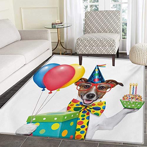(Kids Birthday Bath Mat tub Waiter Server Party Dog Hat Cone Cupcake Balloons Celebration Boxes Door Mats Inside Bathroom Mat Non Slip Backing 55