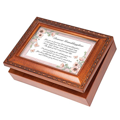 Dearest Granddaughter Wood Finish Jewelry Music Box Plays Tune You Are My Sunshine (A Little Bit Of Sunshine In My Life)