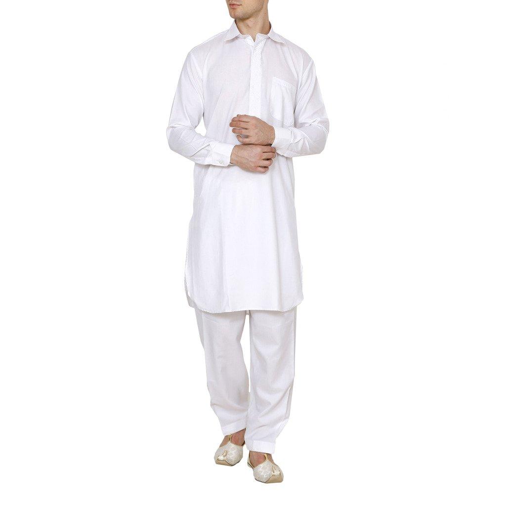 Royal Kurta Men's Tericott Standard Pathani Suit Salwar Set White