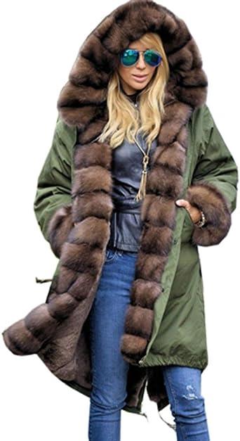 Roiii Women Winter Faux Fur Hooded Long Jacket Coats Plus