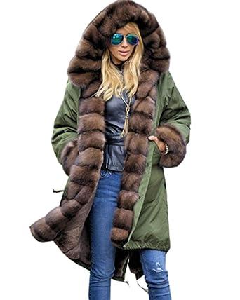 best service 94043 d45b3 Roiii® Frauen Winter Lange Warme Dicke Parka Braun Cafe Kunstpelz Jacke mit  Kapuze Mantel Plus Größe