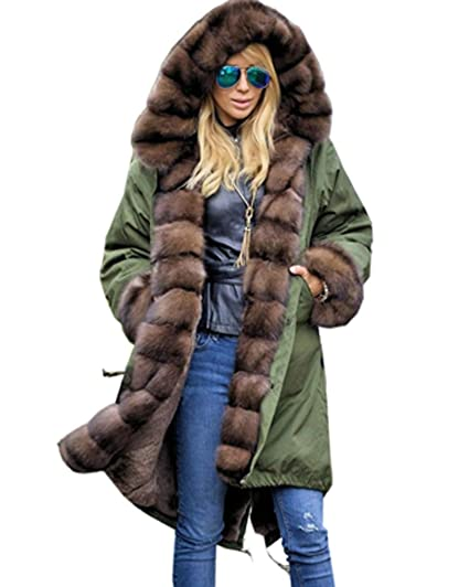 Roiii® Frauen Winter Lange Warme Dicke Parka Braun Cafe Kunstpelz Jacke mit Kapuze Mantel Plus Größe