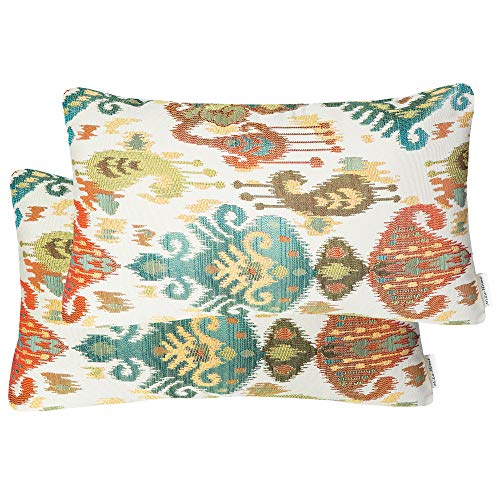 (Mika Home Pack of 2 Jacquard Damask Accent Throw Pillow Cases Cushion Covers for 12X20 Inserts Cream Teal Rust)