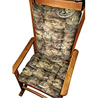 Rocker Cushion Set - Woodlands Lodge Fish Camp - Seat Cushion with Ties and Back Rest - Latex Foam Fill, Made in USA - Bass, Trout, Salmon, Perch