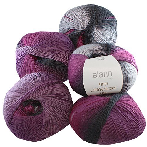 elann Pippi Longcolors Lite Yarn | 5 Ball Bag | 608 Mulberry Moon - Fingering Weight
