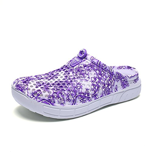 DoGeek Chinese Style Women Men Slippers Breathable Mesh Net Mules Clogs Slip on Casual Flip Flops Garden Shoes Hollow Sandals for Outdoor & Indoor Purple g0hwwx8jI