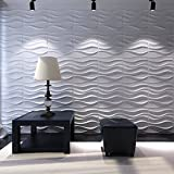 Tools & Hardware : Art3d Decorative 3D Wavy Wall Panel Design Pack of 12 Tiles 32 Sq Ft (Plant Fiber)