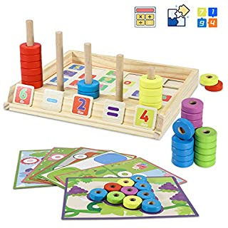 ALeaf Wooden Puzzles Counting Toys- STEM Toys for 3 4 5 6 7 8Year olds Cool Math Educational Kindergarten-Matching Shape Sorter Stacking Stem Fine Motor Skills Toys