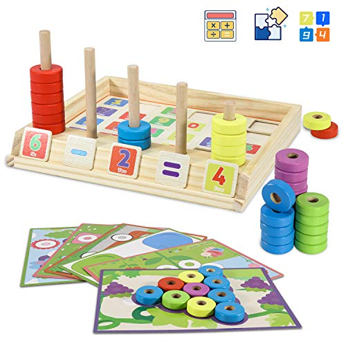 DmbsmOB Wooden Puzzles Counting Toys- STEM Toys for 3 4 5 6 7 8Year olds Cool Math Educational Kindergarten-Matching Shape Sorter Stacking Stem Fine Motor Skills Toys
