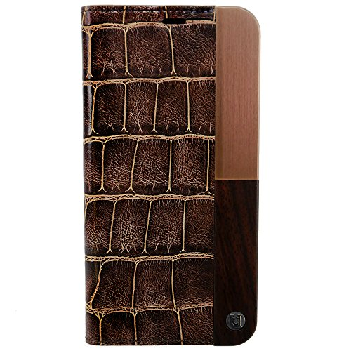 (iPhone X Case, Uunique, Brown, Croc Leather design with (Genuine Wood) & combination of Aluminium Book / Folio Case, Magnetic Closing, Stand Function, Premium Protective Cover, Book Case)