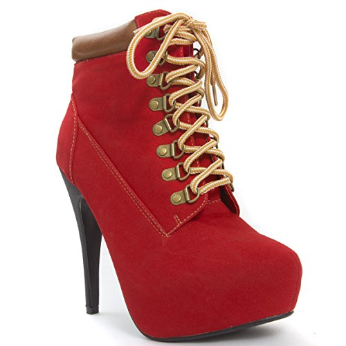 16ecd98a9c7f V-Luxury Womens 32-COMPOSE01 Closed Toe High Heel Platform Lace Up Ankle  Boots