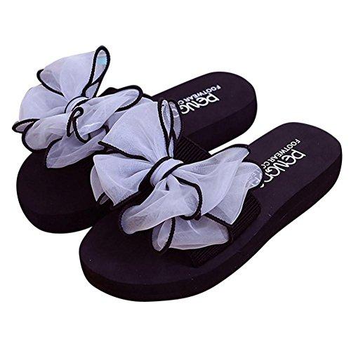 Planas Playa de Bailarinas C Cuero Bowknot Verano Sandalias Sandalias Libre Chanclas Indoor Mujer Zapatos Bohemia Moda Zapatillas Las Cordones De Aire al de y ASHOP SgUBX
