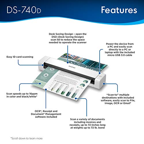 Brother DS-740D Duplex Compact Mobile Document Scanner