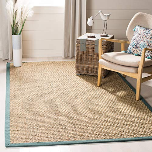 - Safavieh Natural Fiber Collection NF114M Basketweave Natural and Light Blue Summer Seagrass Area Rug (5' x 8')