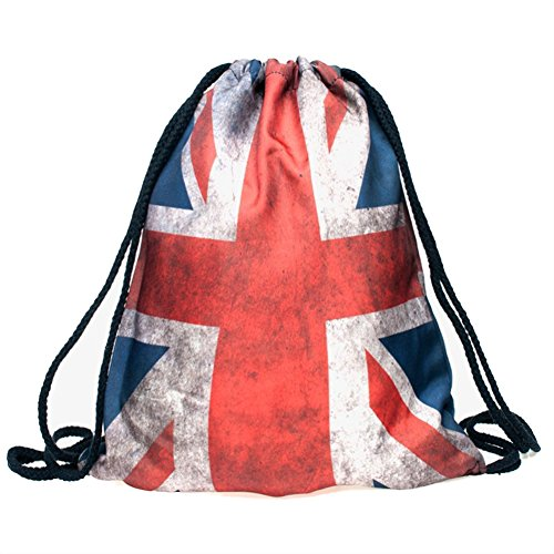 British Flag Colors (Ababalaya 3D Print Drawstring Backpack Rucksack Shoulder Bags Gym Bag, British Flag)