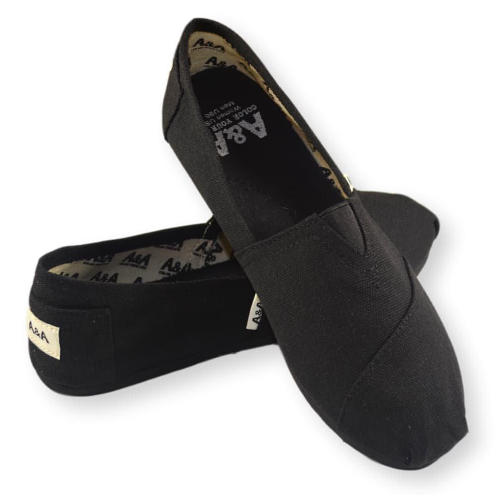 A&A Vegan Classic Slip-on Canvas Alpargatas, Casual Shoes for Women & Men (Unisex) (6 US Women / 4.5 US Men, Black on Black) by A&A (Image #7)