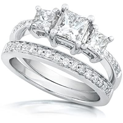 1-1/6ctw Three Stone Princess Diamond Wedding Ring Set in 14Kt White Gold (HI/I1-I2) - Size 5.5