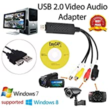 EasyCap USB 2.0 Capture Card Video TV DVD VHS Audio Capture Card 3 in 1 VHS to DVD Adapter Converter PC PS3 XBOX for win 7 8 32 64