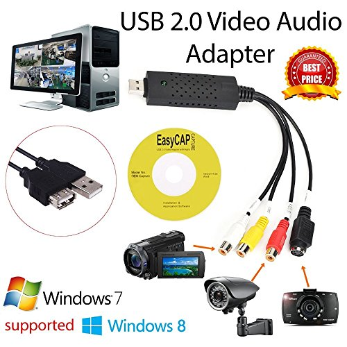 Video 1 Capture Adapter Usb - EasyCap USB 2.0 Capture Card Video TV DVD VHS Audio Capture Card 3 in 1 VHS to DVD Adapter Converter PC PS3 Xbox for Win 7 8 32 64