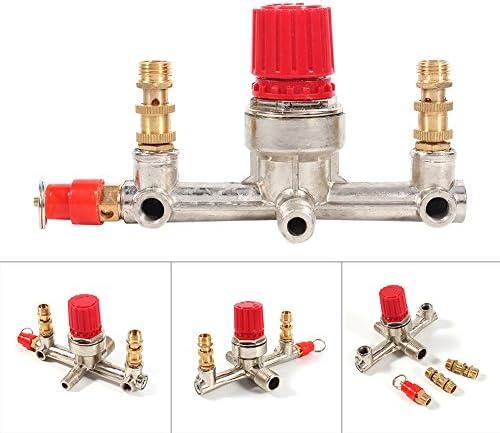 QWERTOUR Doppel Auslassrohr Alloy Luftkompressor Schalter Druckregelventil Einbauteile mit Halter für Kleinluftverdichter