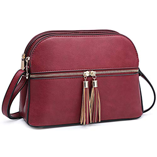 (Women Medium Lightweight Dome Cross Body Bag Faux Leather Handbag Purse Shoulder Bag Satchel with Tassel for Women(Burgundy) )