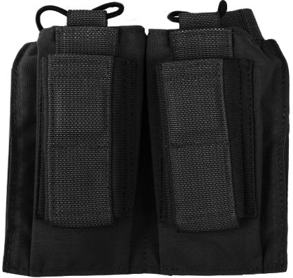 Tactical Assault Gear MOLLE Shingle/Pistol Enhanced 2 Mag Pouch Black