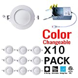 GCNLIGHT 4 Inch CCT Color Changeable Dimmable 9W LED Recessed Potlight,ETL Energy Star Listed 750LM IC Rated LED Slim Panel,3000K,4000K and 5000K all in one LED Downlights/LED Ceiling Light with Junction Box (10Pack 3K-4K-5K)