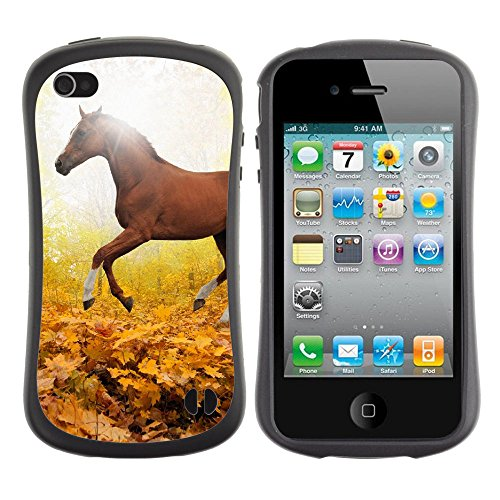 Apple Iphone 4 / 4S [Horse Art Animal Fall Leaf Mountain Red Parallax]
