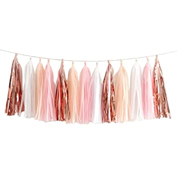 20pcs Shiny Tassel Garland Banner Tissue Paper Tassels For Wedding Baby Shower Table Decor Event Party Supplies Diy Kits Rose Gold Peach